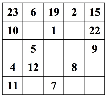 5x5 Magic Square 1-25 Related Keywords & Suggestions - 5x5